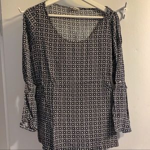 Joie black and white tile print top